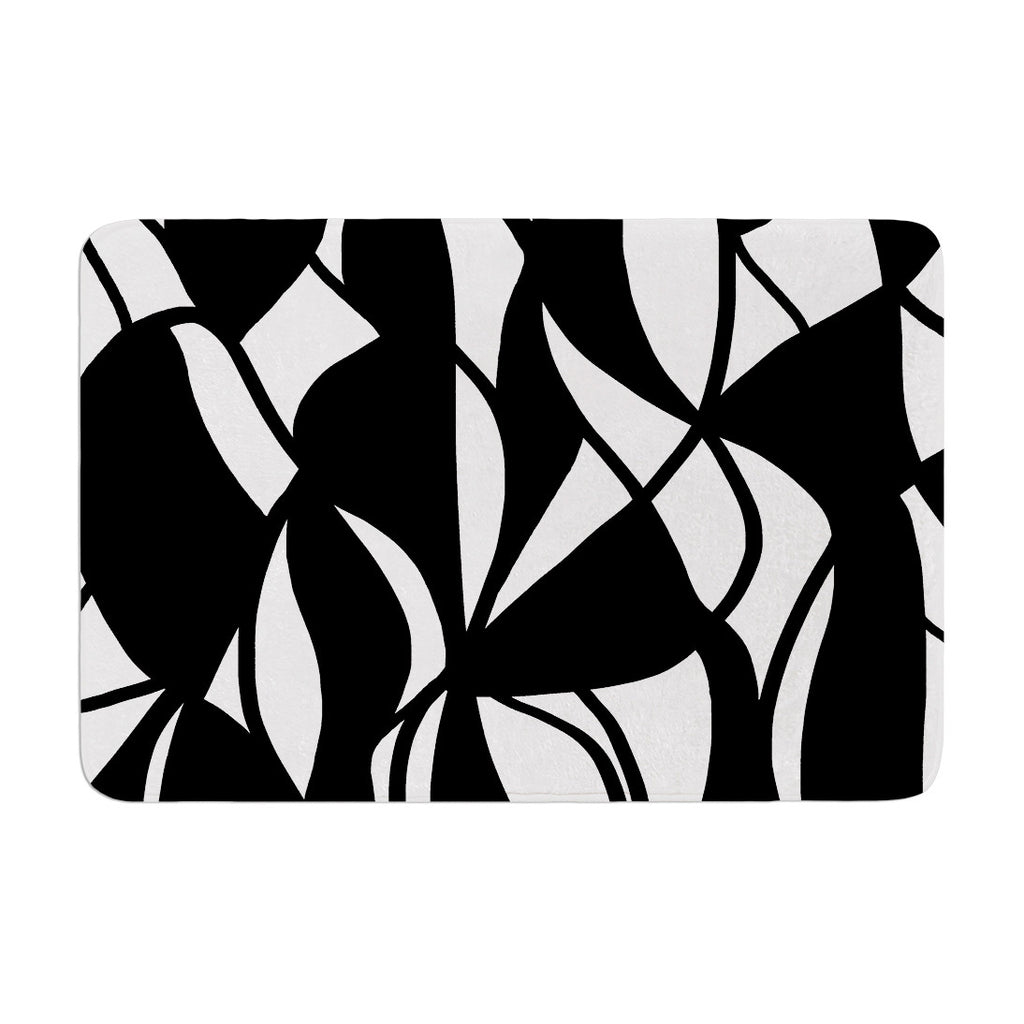 "Emine Ortega ""Sinuous"" Black White Memory Foam Bath Mat - KESS InHouse"