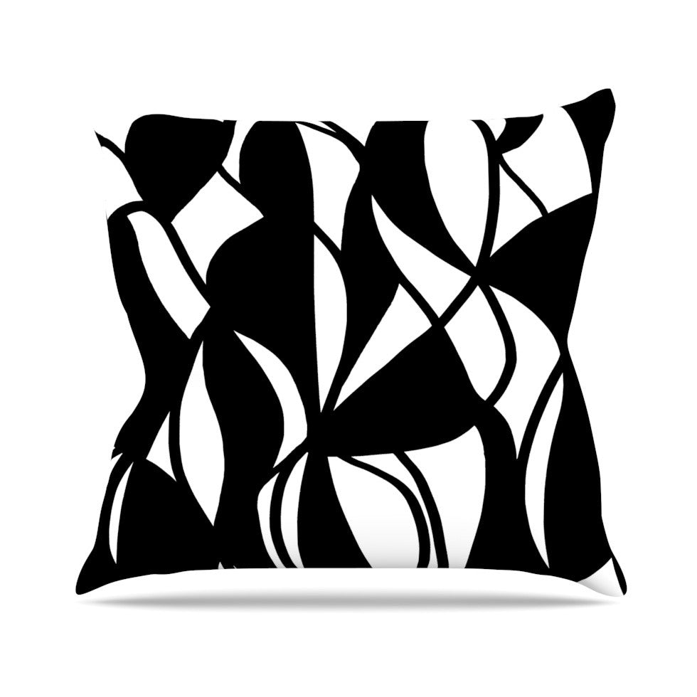 "Emine Ortega ""Sinuous"" Black White Throw Pillow - KESS InHouse  - 1"