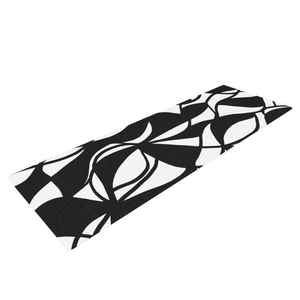 "Emine Ortega ""Sinuous"" Black White Yoga Mat - KESS InHouse  - 1"