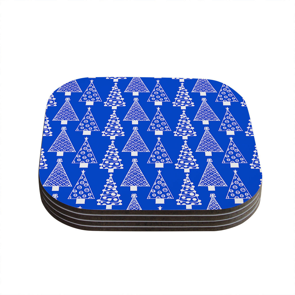 "Emine Ortega ""Jolly Trees Blue"" Royal Coasters (Set of 4)"