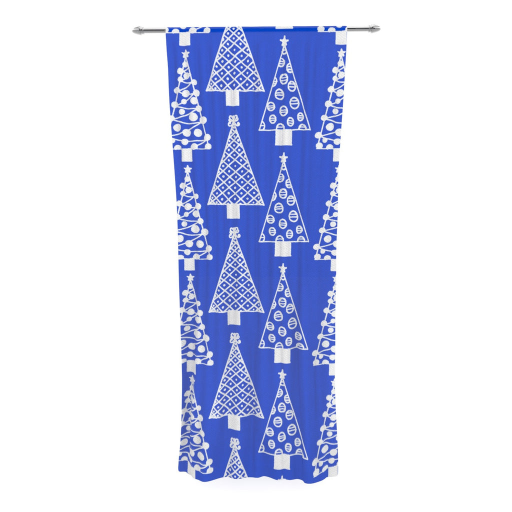 "Emine Ortega ""Jolly Trees Blue"" Royal Decorative Sheer Curtain - KESS InHouse  - 1"