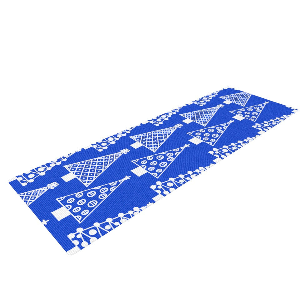 "Emine Ortega ""Jolly Trees Blue"" Royal Yoga Mat - KESS InHouse  - 1"