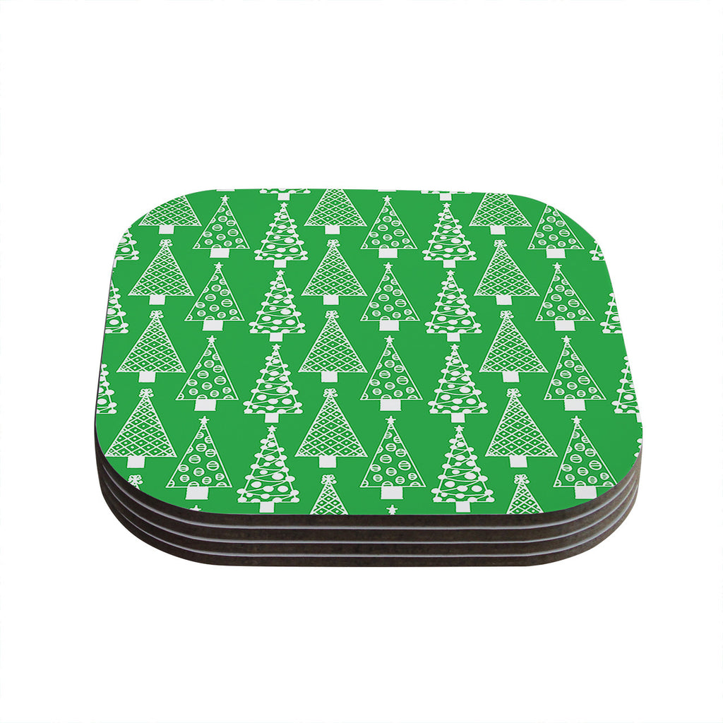 "Emine Ortega ""Jolly Trees Green"" Forest Coasters (Set of 4)"