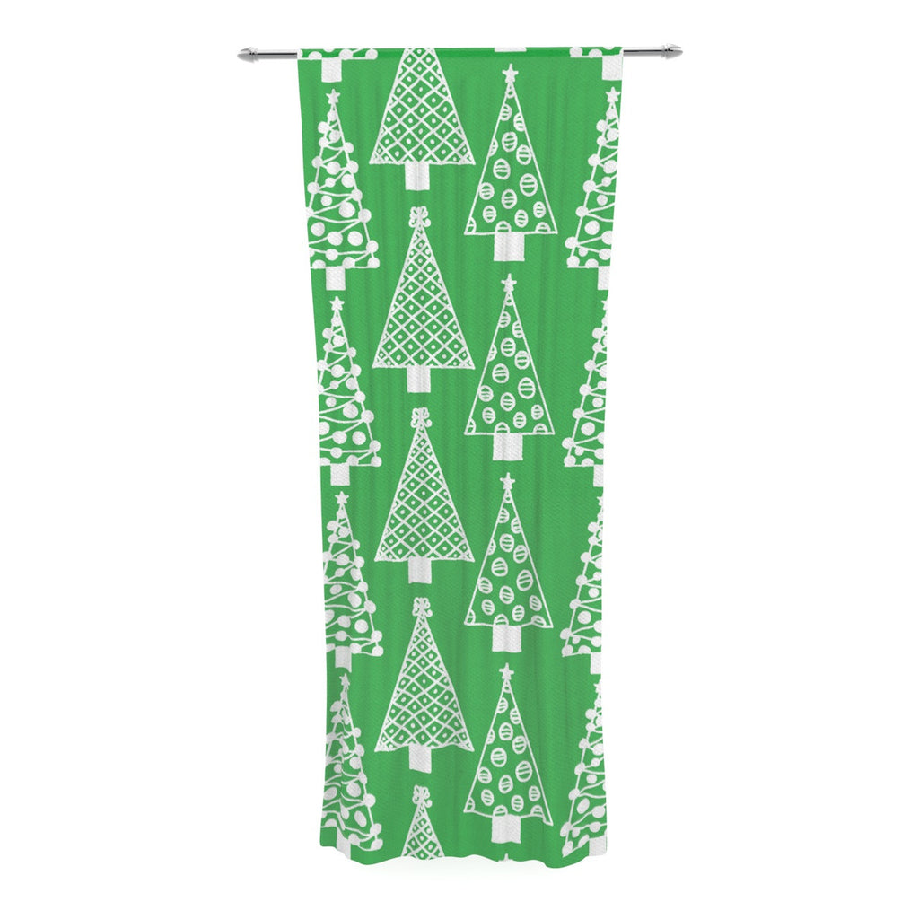 "Emine Ortega ""Jolly Trees Green"" Forest Decorative Sheer Curtain - KESS InHouse  - 1"