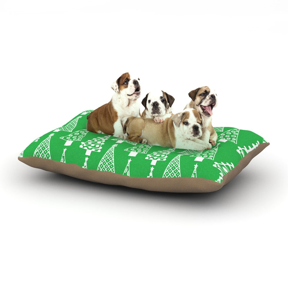 "Emine Ortega ""Jolly Trees Green"" Forest Dog Bed - KESS InHouse  - 1"