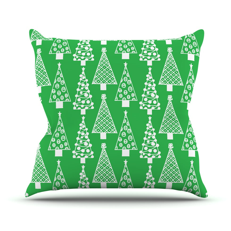 "Emine Ortega ""Jolly Trees Green"" Forest Outdoor Throw Pillow - KESS InHouse  - 1"