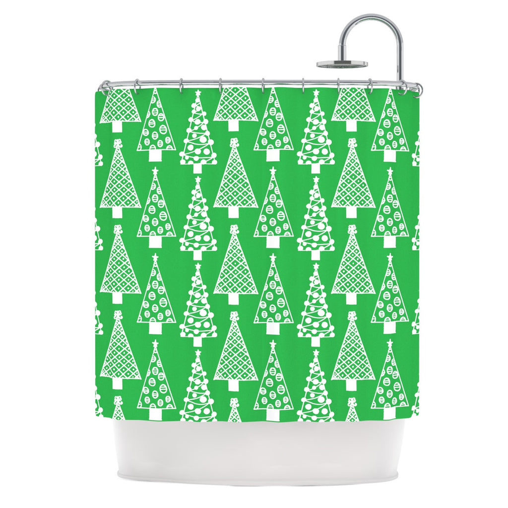 "Emine Ortega ""Jolly Trees Green"" Forest Shower Curtain - KESS InHouse"