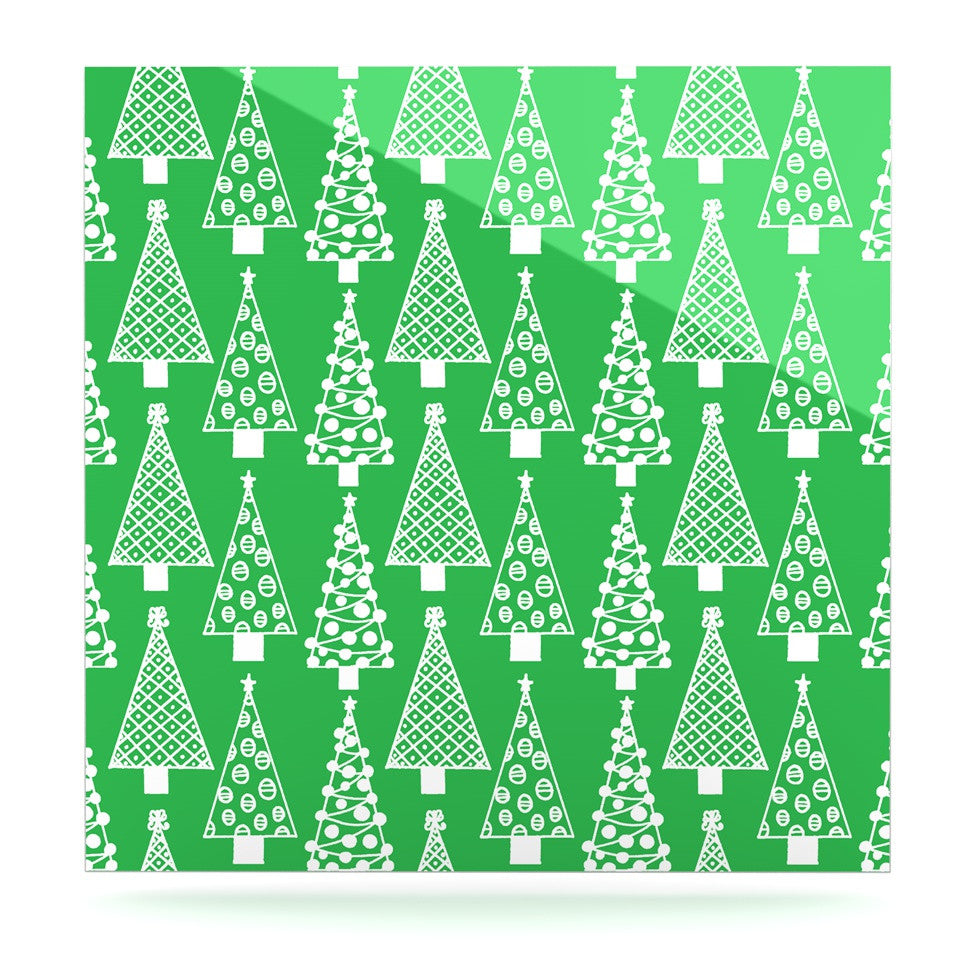 "Emine Ortega ""Jolly Trees Green"" Forest Luxe Square Panel - KESS InHouse  - 1"