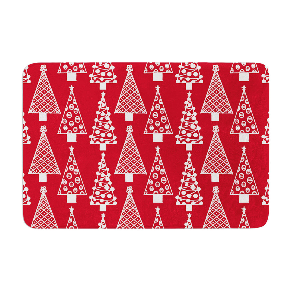 "Emine Ortega ""Jolly Trees Red"" Crimson Memory Foam Bath Mat - KESS InHouse"