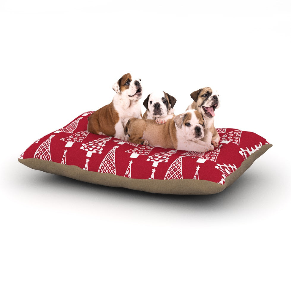 "Emine Ortega ""Jolly Trees Red"" Crimson Dog Bed - KESS InHouse  - 1"