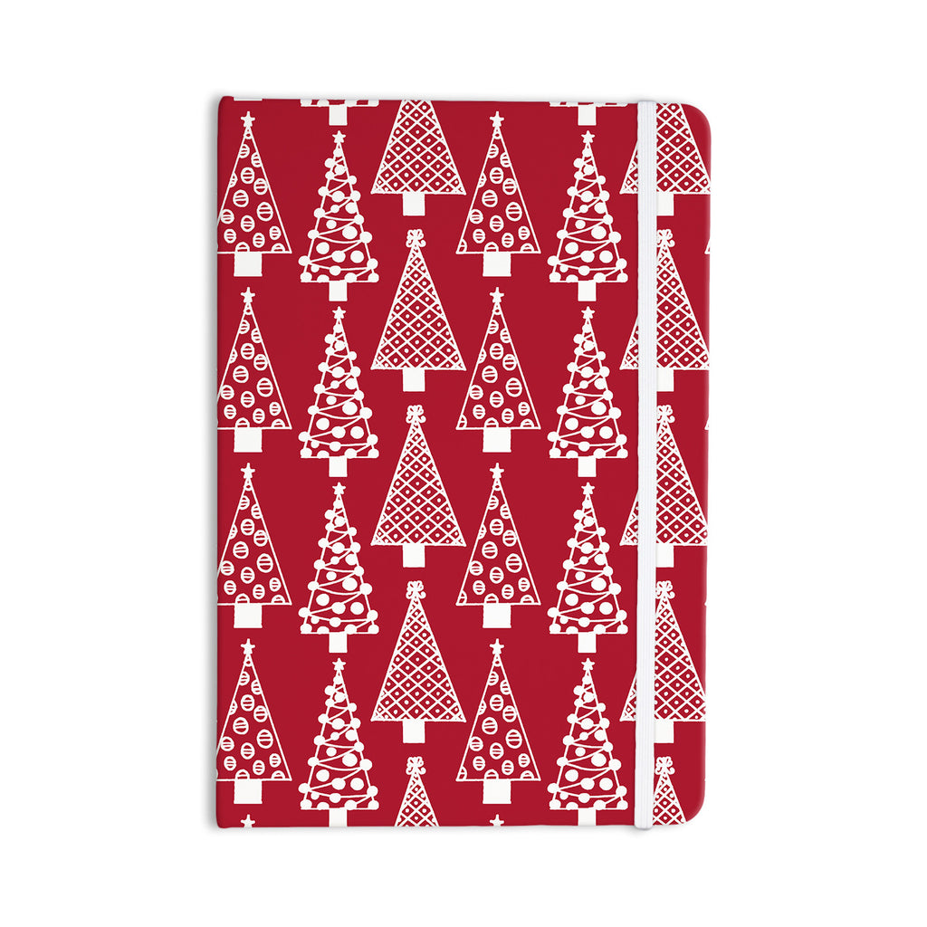 "Emine Ortega ""Jolly Trees Red"" Crimson Everything Notebook - KESS InHouse  - 1"