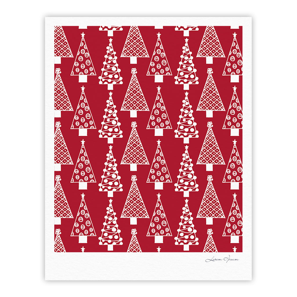 "Emine Ortega ""Jolly Trees Red"" Crimson Fine Art Gallery Print - KESS InHouse"