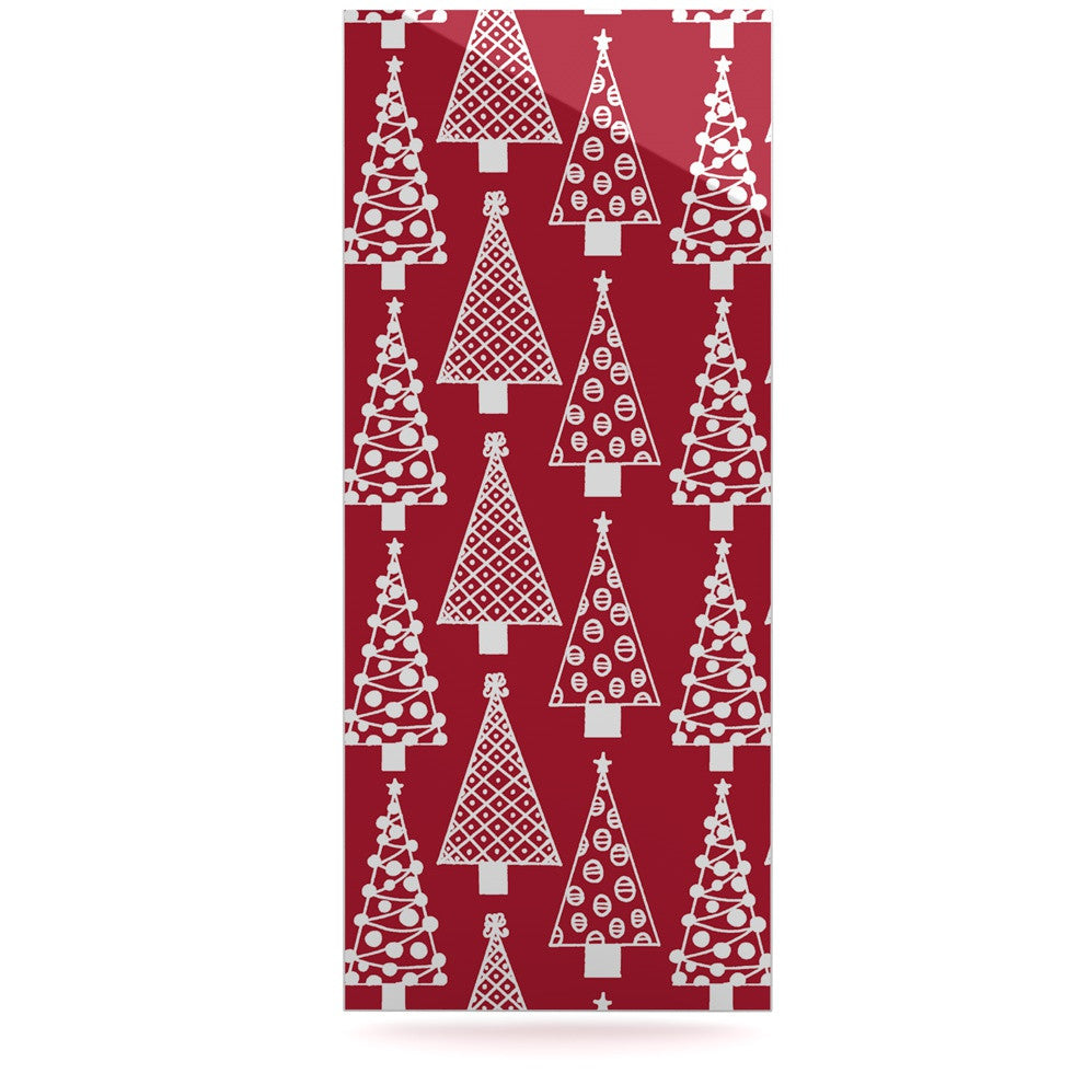 "Emine Ortega ""Jolly Trees Red"" Crimson Luxe Rectangle Panel - KESS InHouse  - 1"