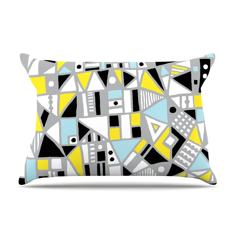 "Emine Ortega ""Fun Geo Too"" Aqua Yellow Pillow Sham - KESS InHouse"