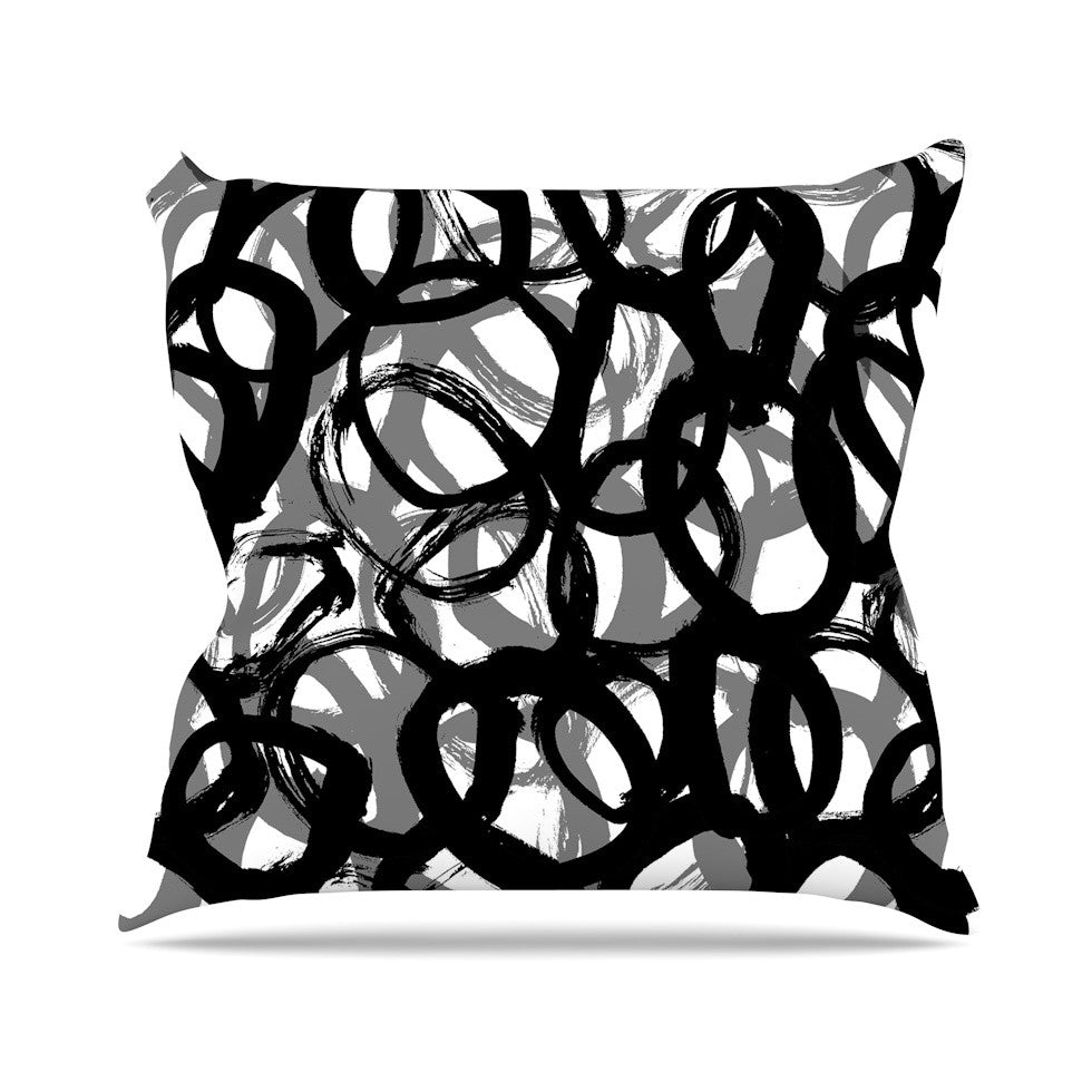 "Emine Ortega ""Rhythm"" Black Gray Outdoor Throw Pillow - KESS InHouse  - 1"