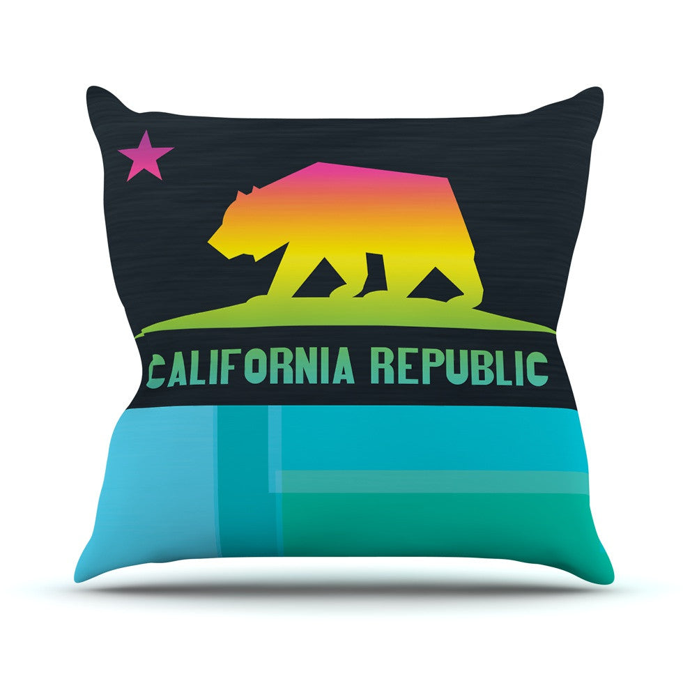 "Fimbis ""California"" Multicolor Teal Throw Pillow - KESS InHouse  - 1"