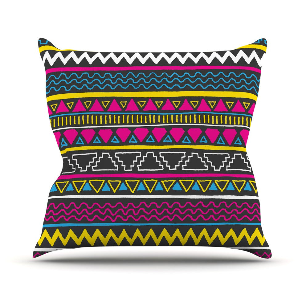 "Fimbis ""Keef"" Yellow Magenta Outdoor Throw Pillow - KESS InHouse  - 1"