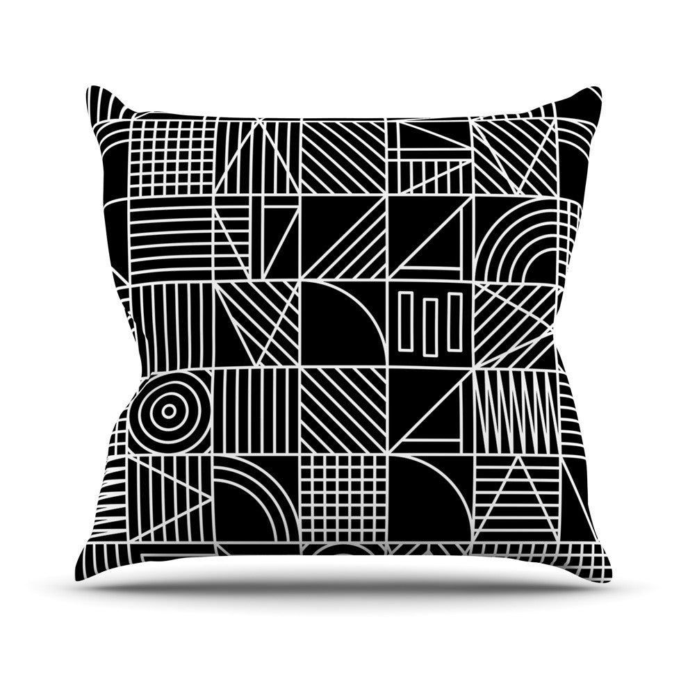 "Fimbis ""Whack"" Black White Outdoor Throw Pillow - KESS InHouse"