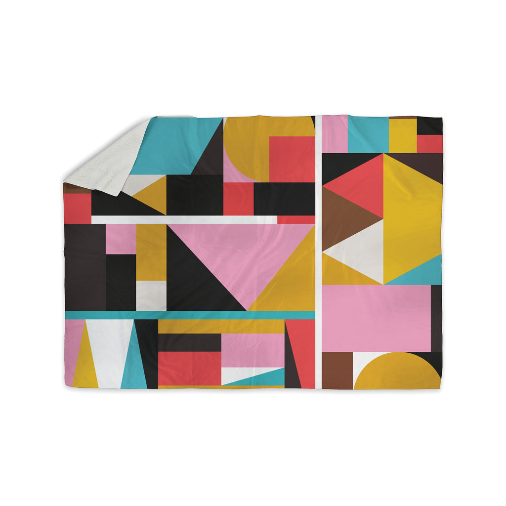 "Fimbis ""Kaku To"" Abstract Geometric Sherpa Blanket - KESS InHouse  - 1"