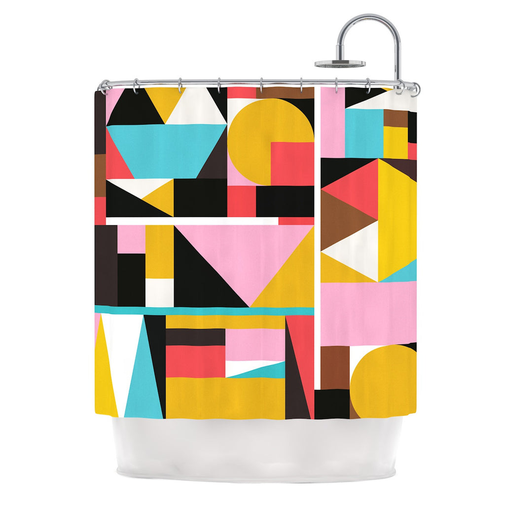 "Fimbis ""Kaku To"" Abstract Geometric Shower Curtain - KESS InHouse"
