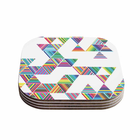 "Fimbis ""Rainbow Rain"" Multicolor White Coasters (Set of 4) - Outlet Item"