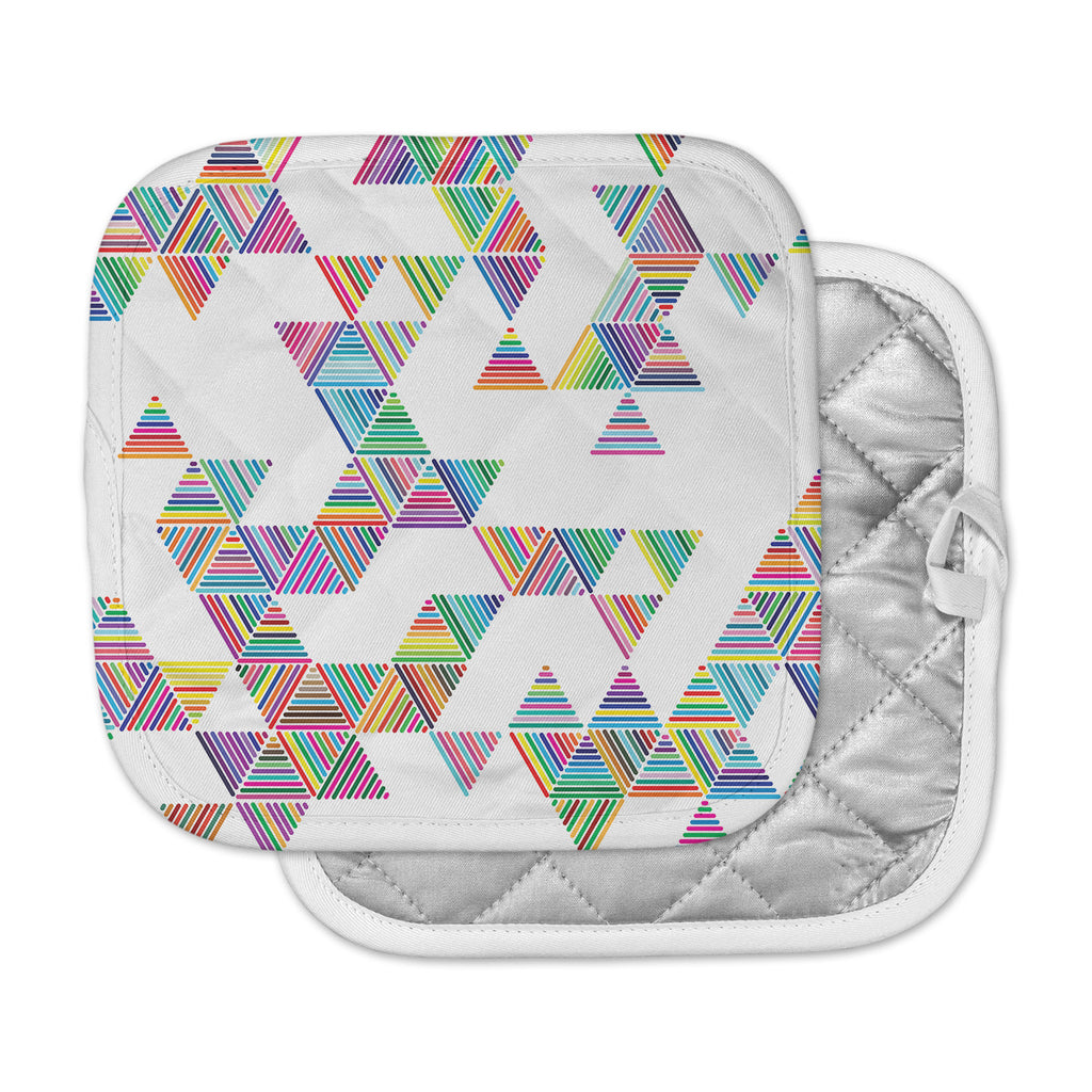 "Fimbis ""Rainbow Rain"" Multicolor White Pot Holder"