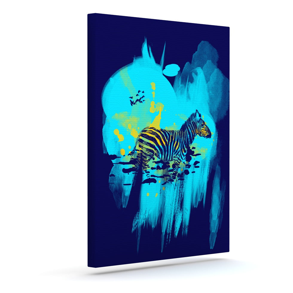 "Frederic Levy-Hadida ""Watercolored Blue"" Zebra Outdoor Canvas Wall Art - KESS InHouse  - 1"
