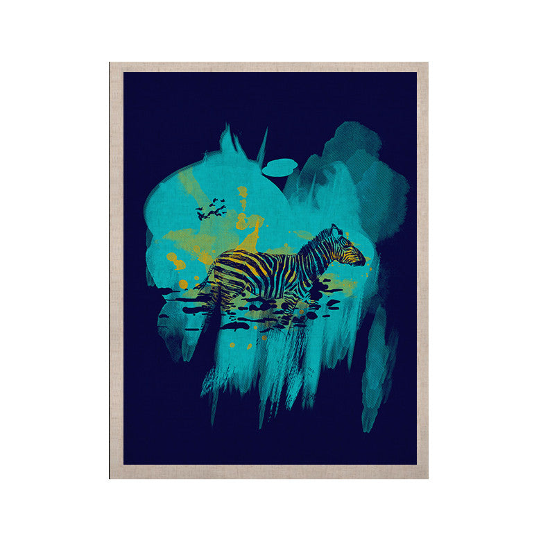 "Frederic Levy-Hadida ""Watercolored Blue"" Zebra KESS Naturals Canvas (Frame not Included) - KESS InHouse  - 1"