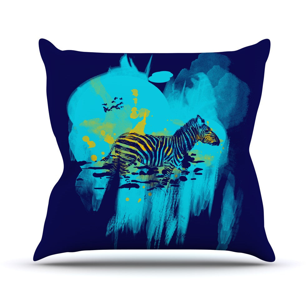 "Frederic Levy-Hadida ""Watercolored Blue"" Zebra Outdoor Throw Pillow - KESS InHouse  - 1"
