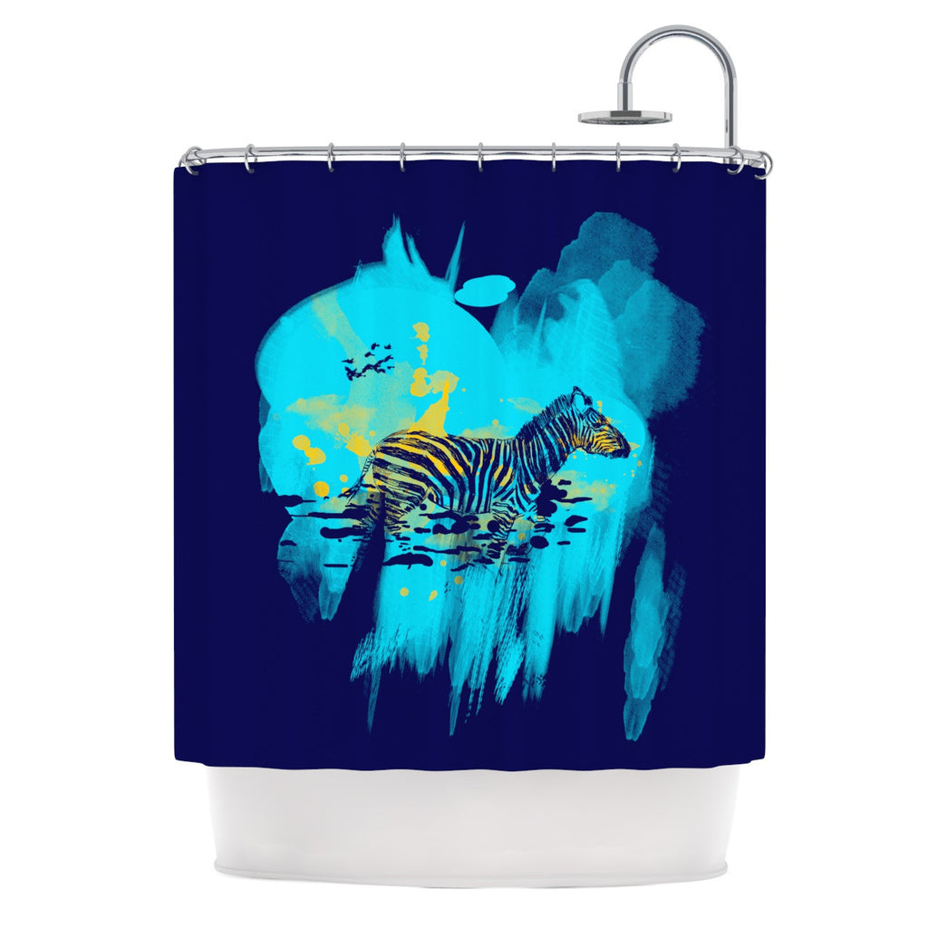 "Frederic Levy-Hadida ""Watercolored Blue"" Zebra Shower Curtain - KESS InHouse"