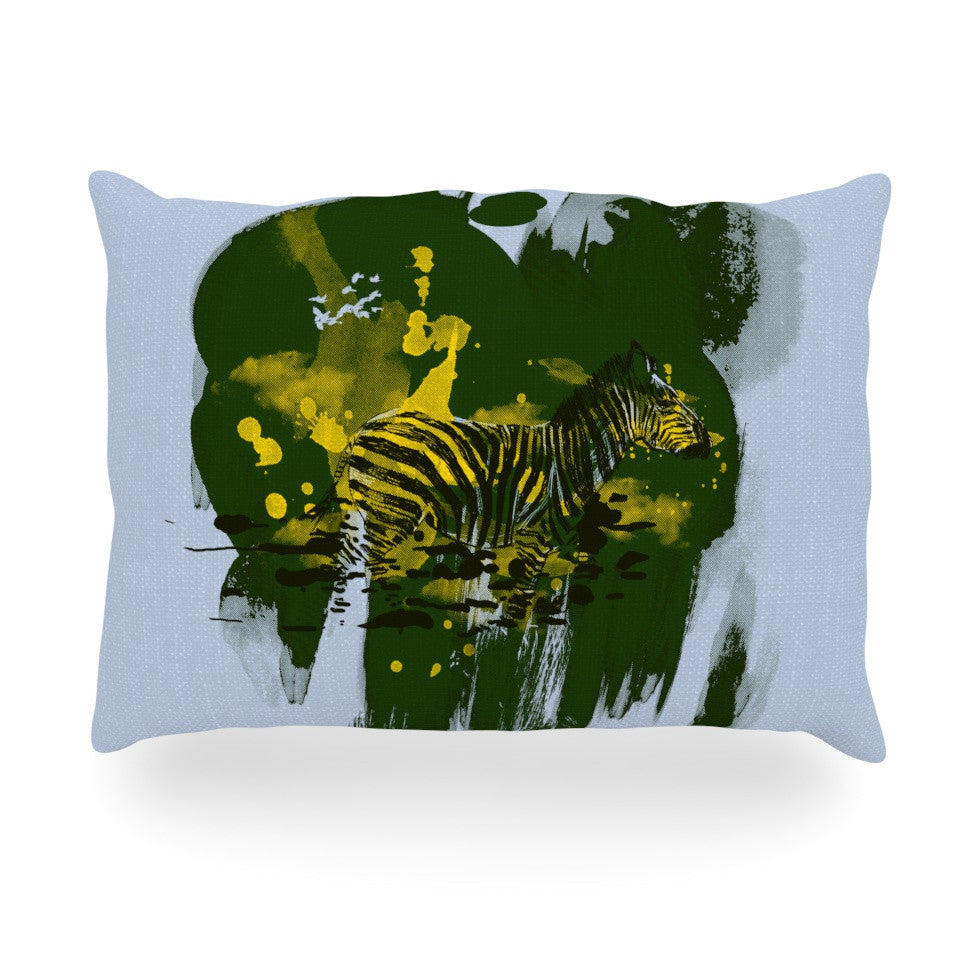"Frederic Levy-Hadida ""Watercolored Green"" Zebra Oblong Pillow - KESS InHouse"