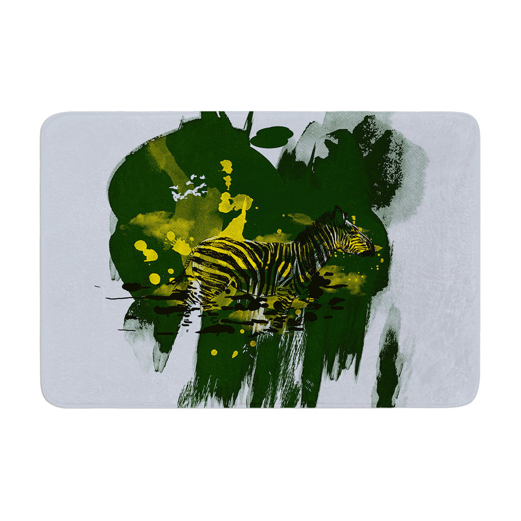 "Frederic Levy-Hadida ""Watercolored Green"" Zebra Memory Foam Bath Mat - KESS InHouse"