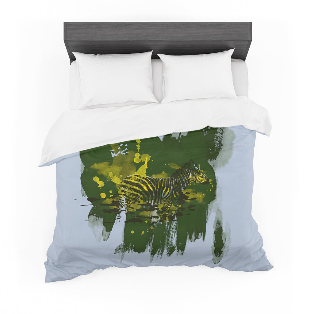 "Frederic Levy-Hadida ""Watercolored Green"" Zebra Cotton Duvet"