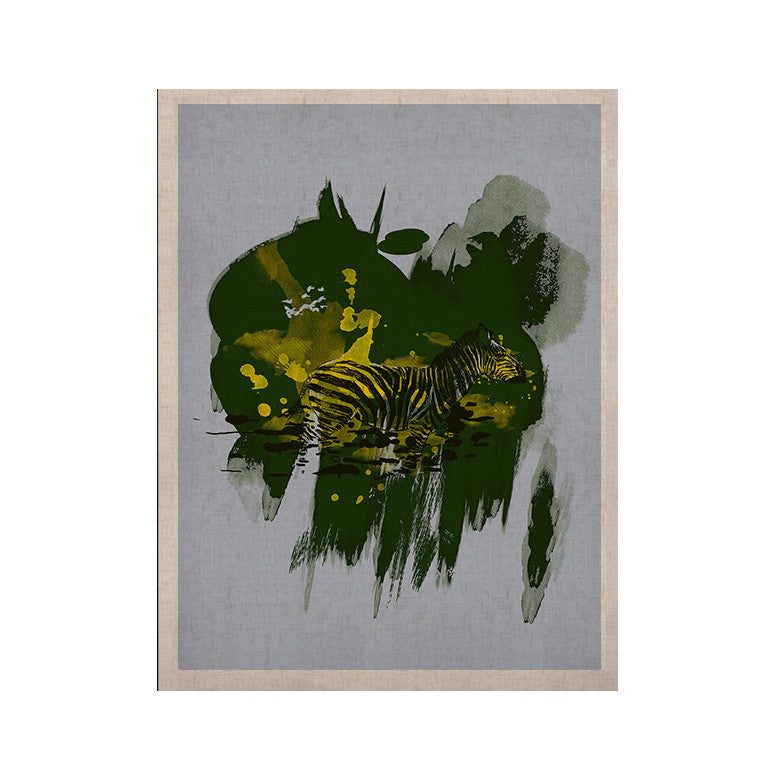 "Frederic Levy-Hadida ""Watercolored Green"" Zebra KESS Naturals Canvas (Frame not Included) - KESS InHouse  - 1"