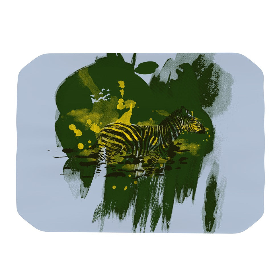 "Frederic Levy-Hadida ""Watercolored Green"" Zebra Place Mat - KESS InHouse"