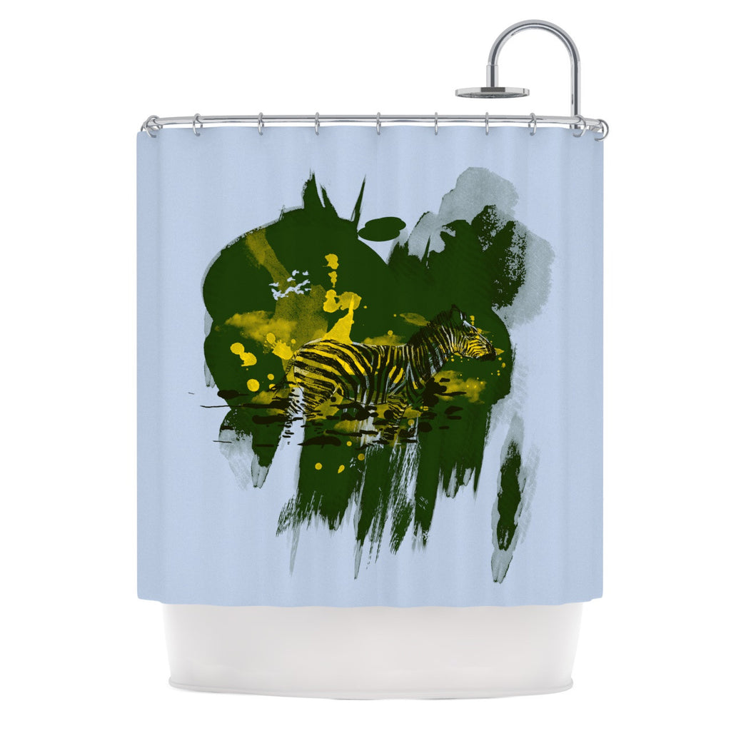 "Frederic Levy-Hadida ""Watercolored Green"" Zebra Shower Curtain - KESS InHouse"