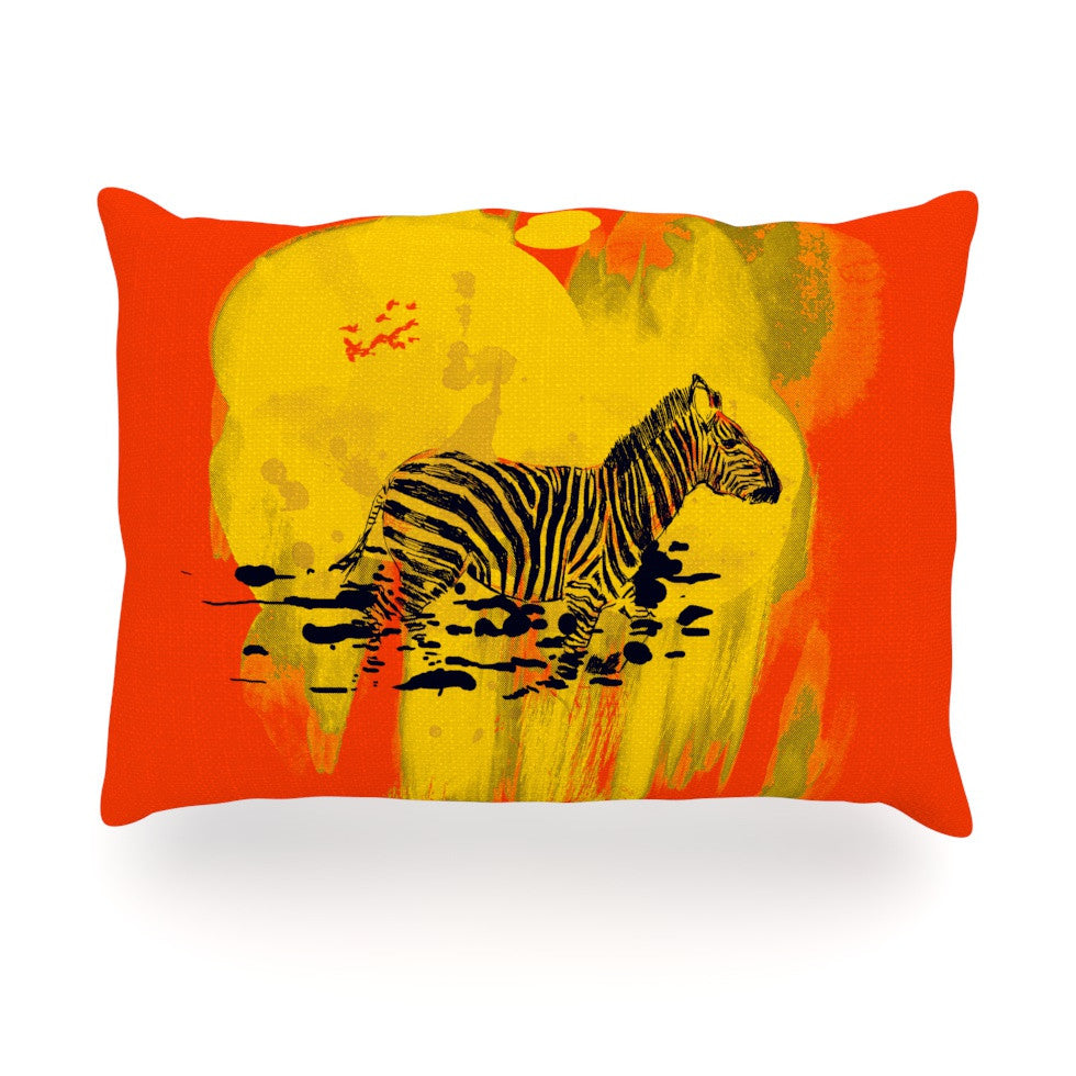 "Frederic Levy-Hadida ""Watercolored Red"" Zebra Oblong Pillow - KESS InHouse"