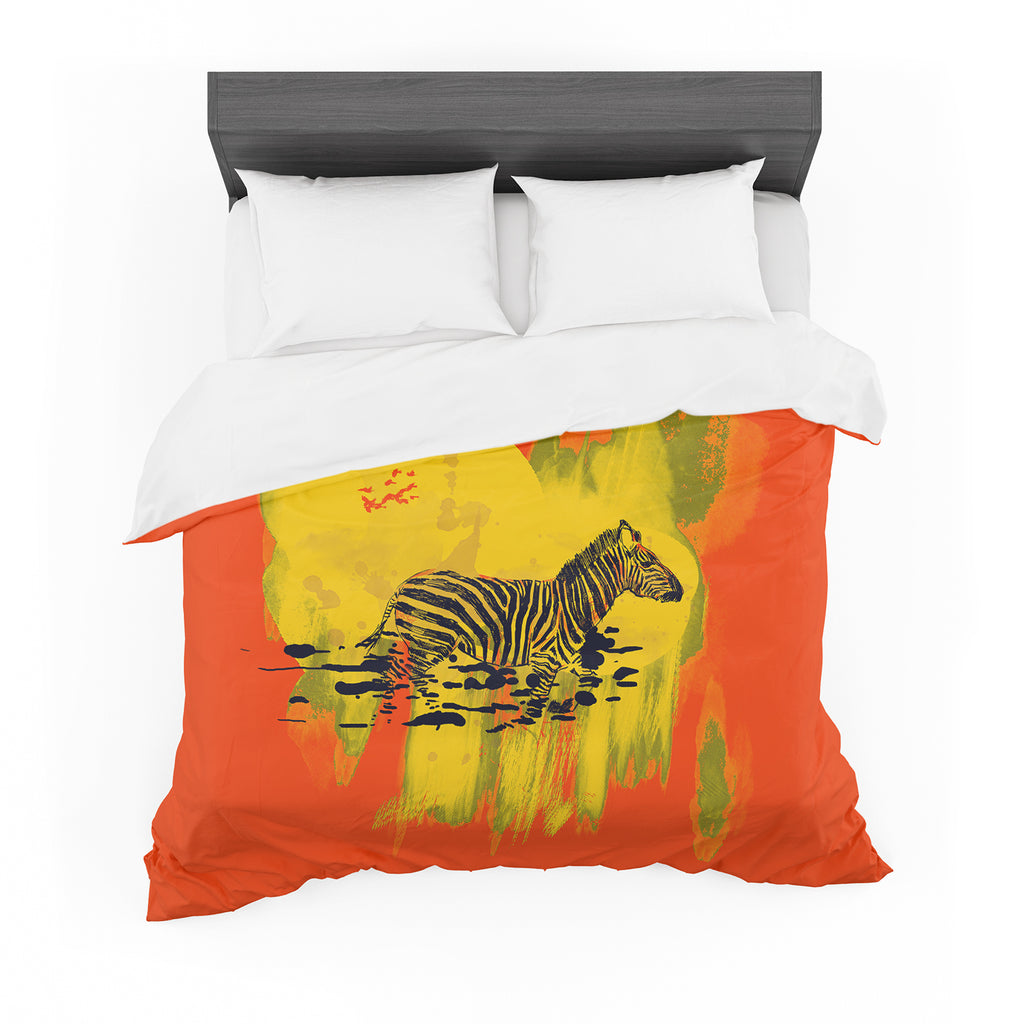 "Frederic Levy-Hadida ""Watercolored Red"" Zebra Cotton Duvet"