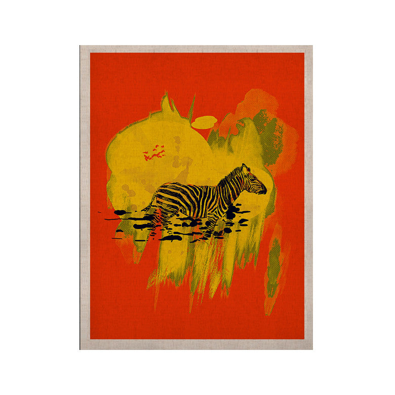 "Frederic Levy-Hadida ""Watercolored Red"" Zebra KESS Naturals Canvas (Frame not Included) - KESS InHouse  - 1"