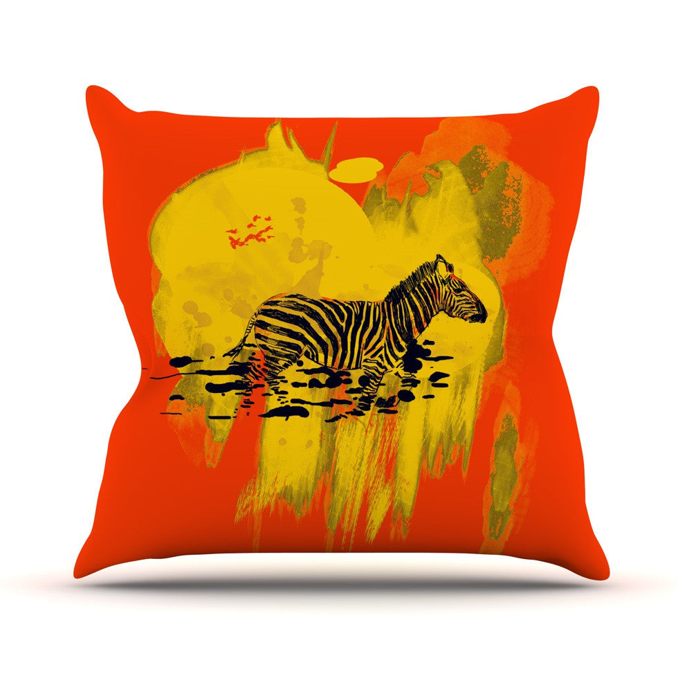 "Frederic Levy-Hadida ""Watercolored Red"" Zebra Outdoor Throw Pillow - KESS InHouse  - 1"