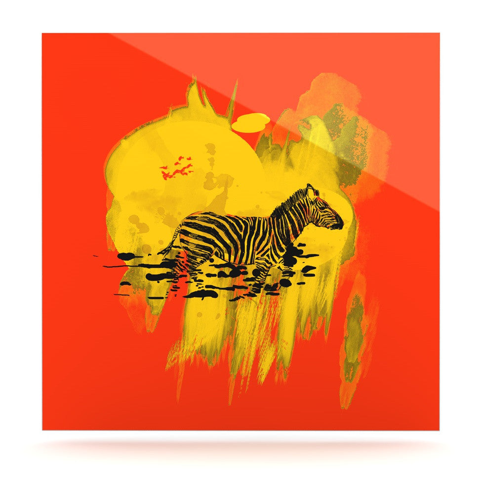 "Frederic Levy-Hadida ""Watercolored Red"" Zebra Luxe Square Panel - KESS InHouse  - 1"