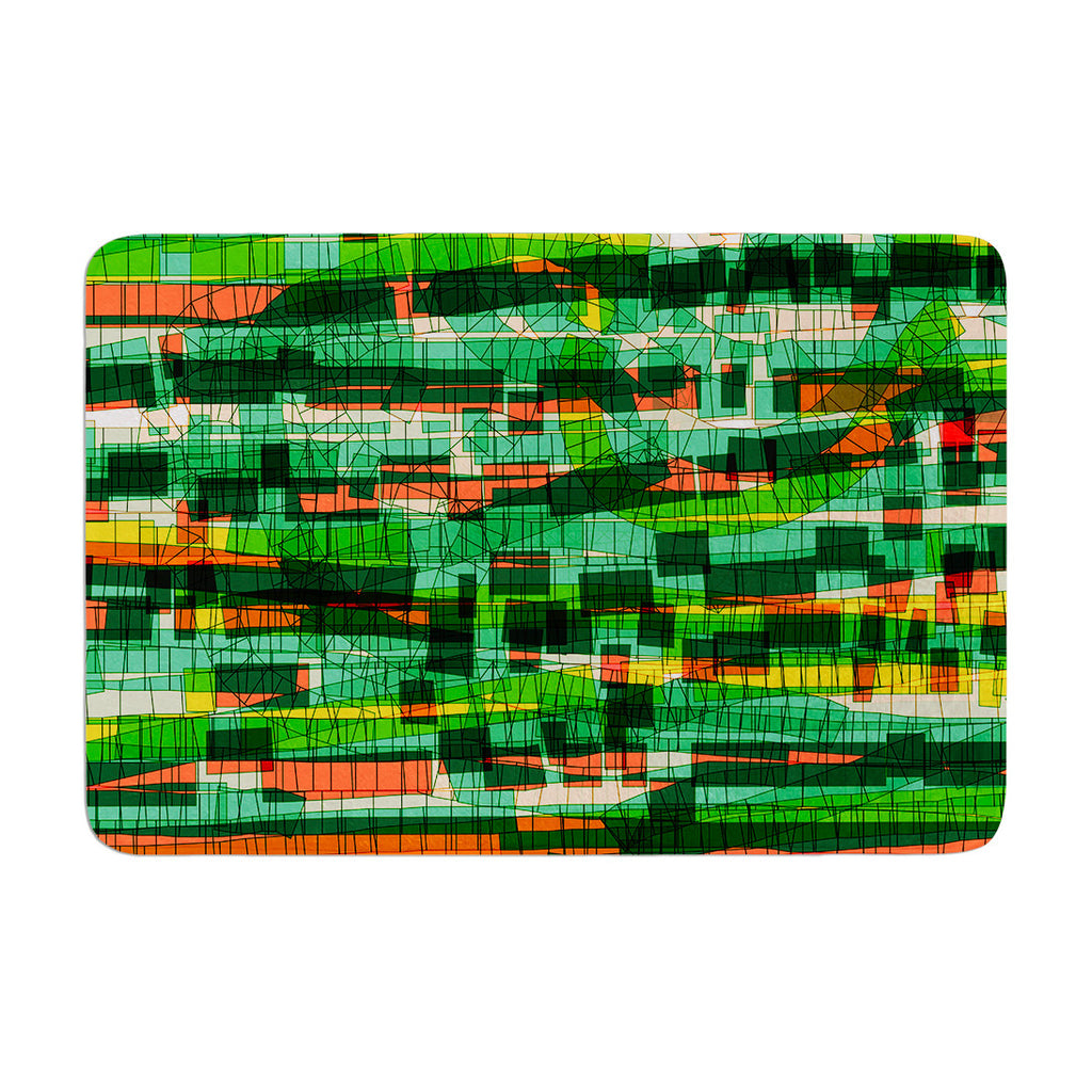 "Frederic Levy-Hadida ""Squares Traffic Green"" Memory Foam Bath Mat - KESS InHouse"