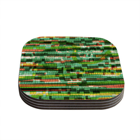 "Frederic Levy-Hadida ""Squares Traffic Green""  Coasters (Set of 4) - Outlet Item"