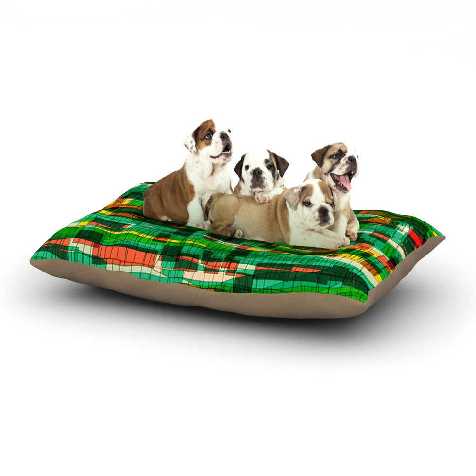 "Frederic Levy-Hadida ""Squares Traffic Green"" Dog Bed - KESS InHouse  - 1"