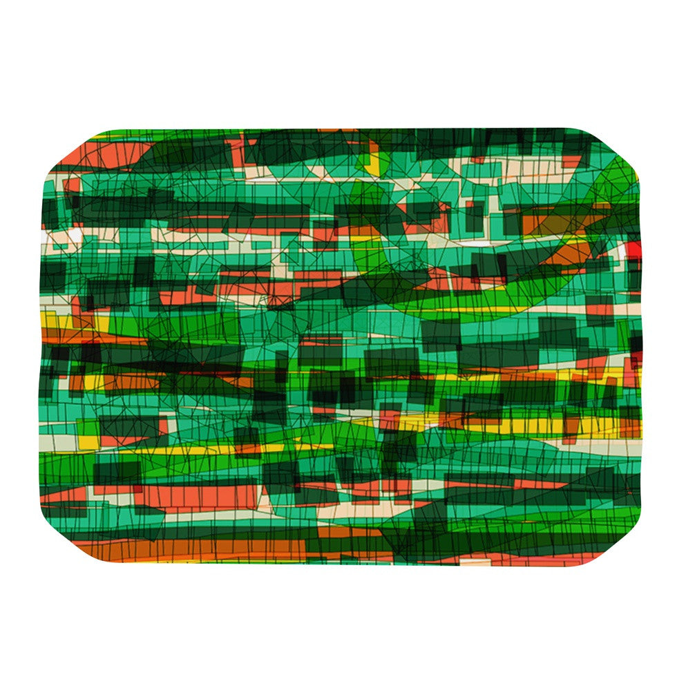 "Frederic Levy-Hadida ""Squares Traffic Green"" Place Mat - KESS InHouse"