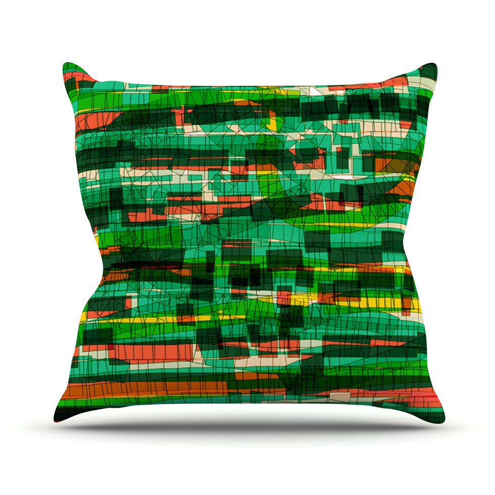 "Frederic Levy-Hadida ""Squares Traffic Green"" Outdoor Throw Pillow - KESS InHouse  - 1"