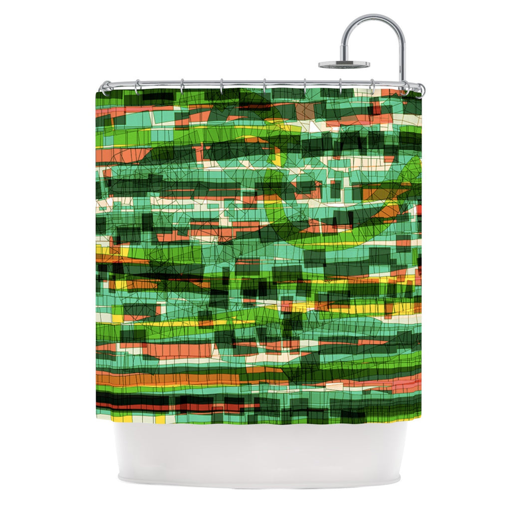 "Frederic Levy-Hadida ""Squares Traffic Green"" Shower Curtain - KESS InHouse"