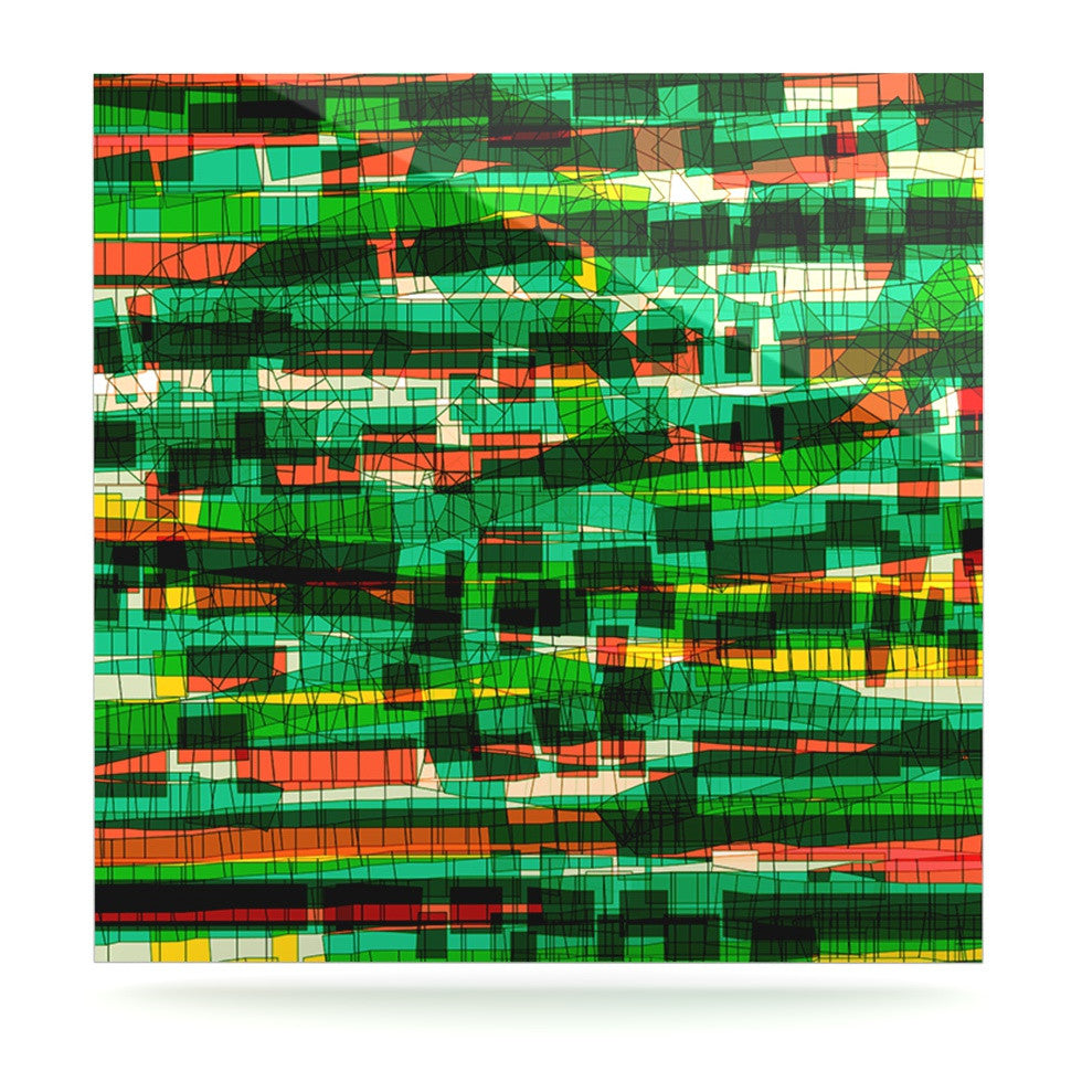 "Frederic Levy-Hadida ""Squares Traffic Green"" Luxe Square Panel - KESS InHouse  - 1"