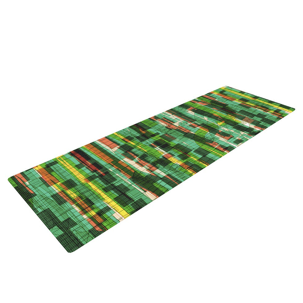 "Frederic Levy-Hadida ""Squares Traffic Green"" Yoga Mat - KESS InHouse  - 1"