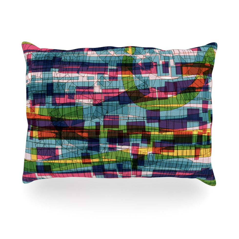 "Frederic Levy-Hadida ""Squares Traffic Pastel"" Oblong Pillow - KESS InHouse"